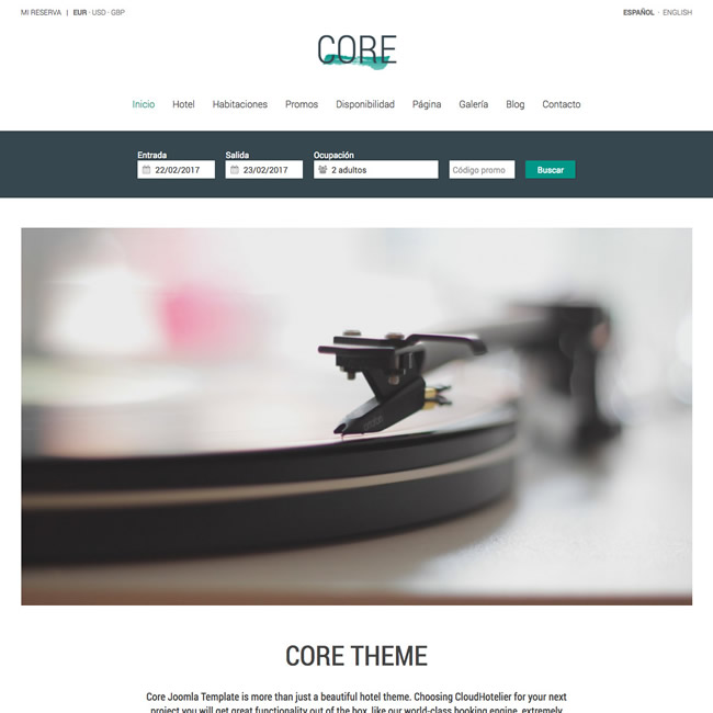 CloudHotelier Core Hotel Theme