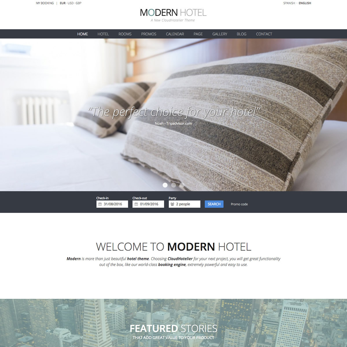 CloudHotelier Modern Hotel Theme