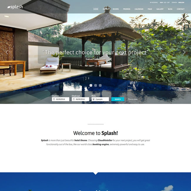 CloudHotelier Splash Hotel Theme