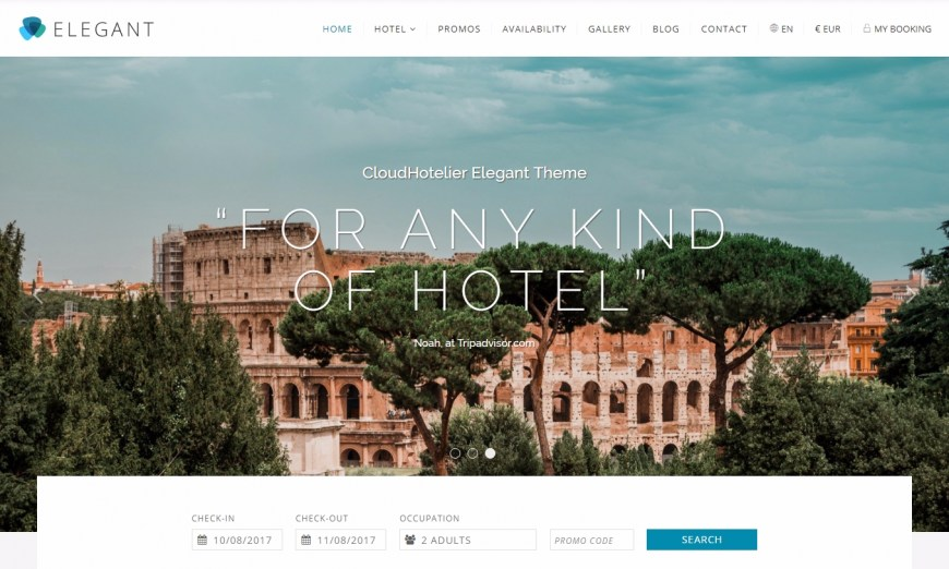 Elegant: the new template of Cloudhotelier for your hotel